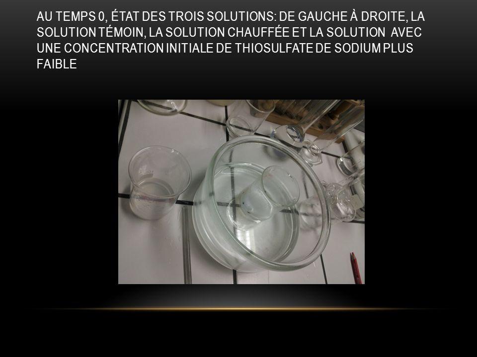 Au temps 0, état des trois solutions: de gauche à droite, la solution témoin, la solution chauffée et la solution avec une concentration initiale de thiosulfate de sodium plus faible