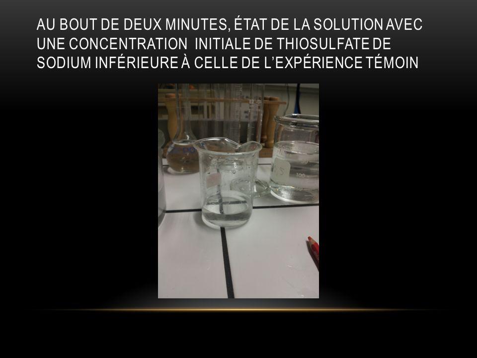 Au bout de deux minutes, état de la solution avec une concentration initiale de thiosulfate de sodium inférieure à celle de l'expérience témoin
