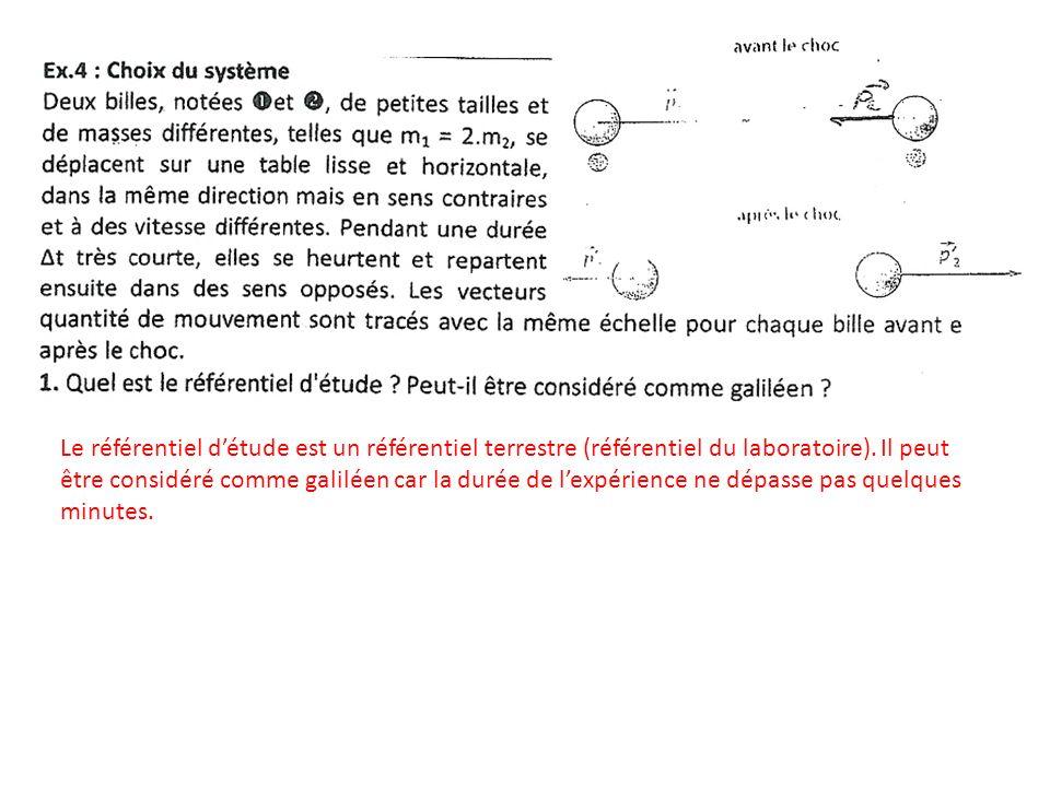 Le référentiel d'étude est un référentiel terrestre (référentiel du laboratoire).