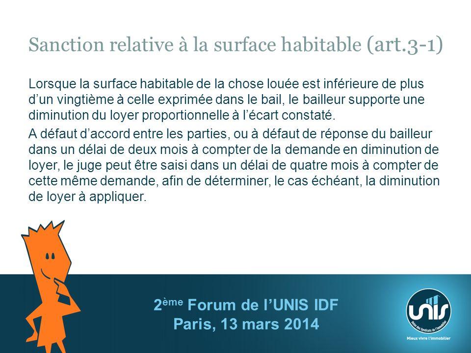 Sanction relative à la surface habitable (art.3-1)