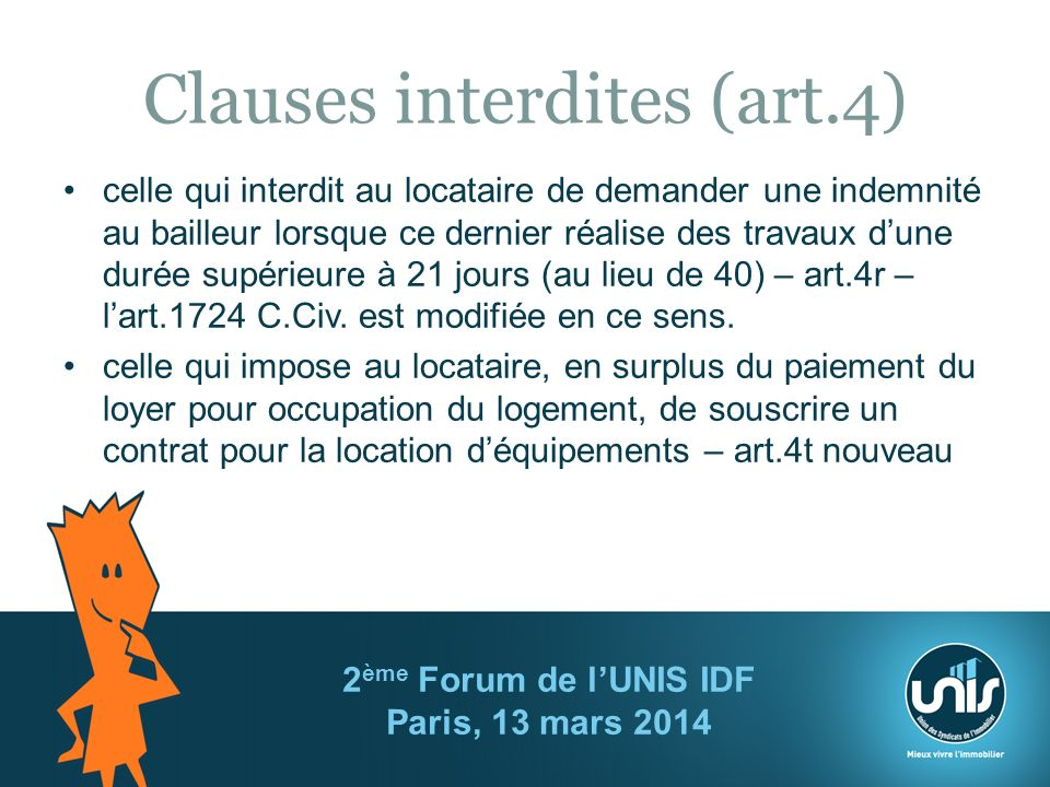 Clauses interdites (art.4)