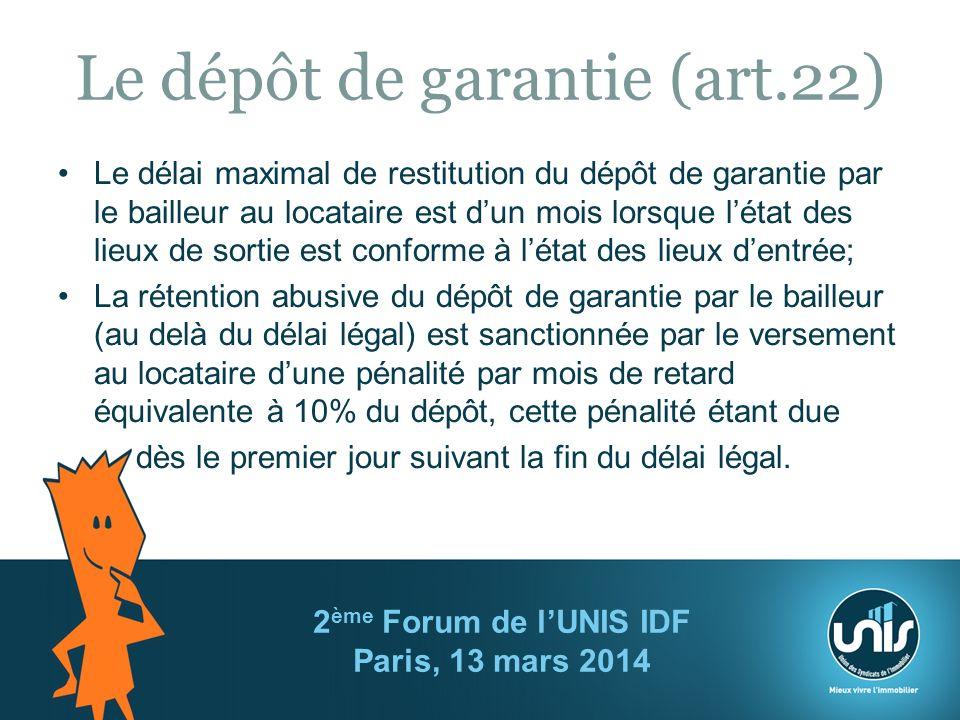 Le dépôt de garantie (art.22)