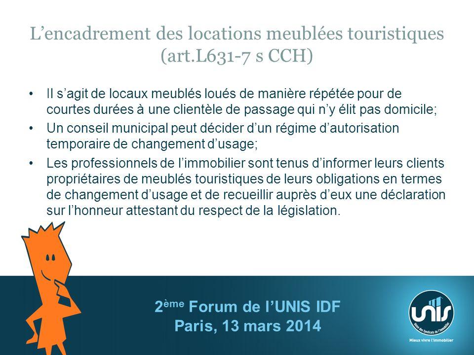 L'encadrement des locations meublées touristiques (art.L631-7 s CCH)