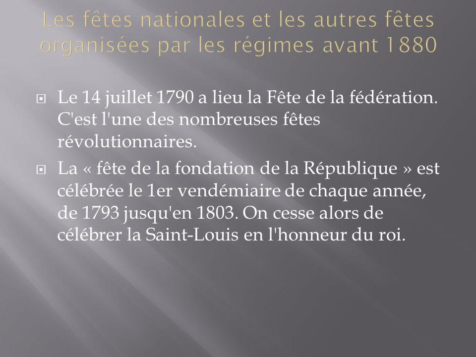 Les fêtes nationales et les autres fêtes organisées par les régimes avant 1880