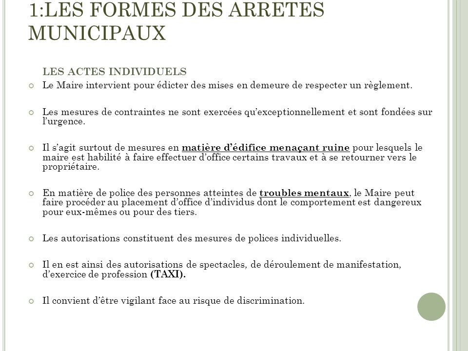 1:LES FORMES DES ARRETES MUNICIPAUX