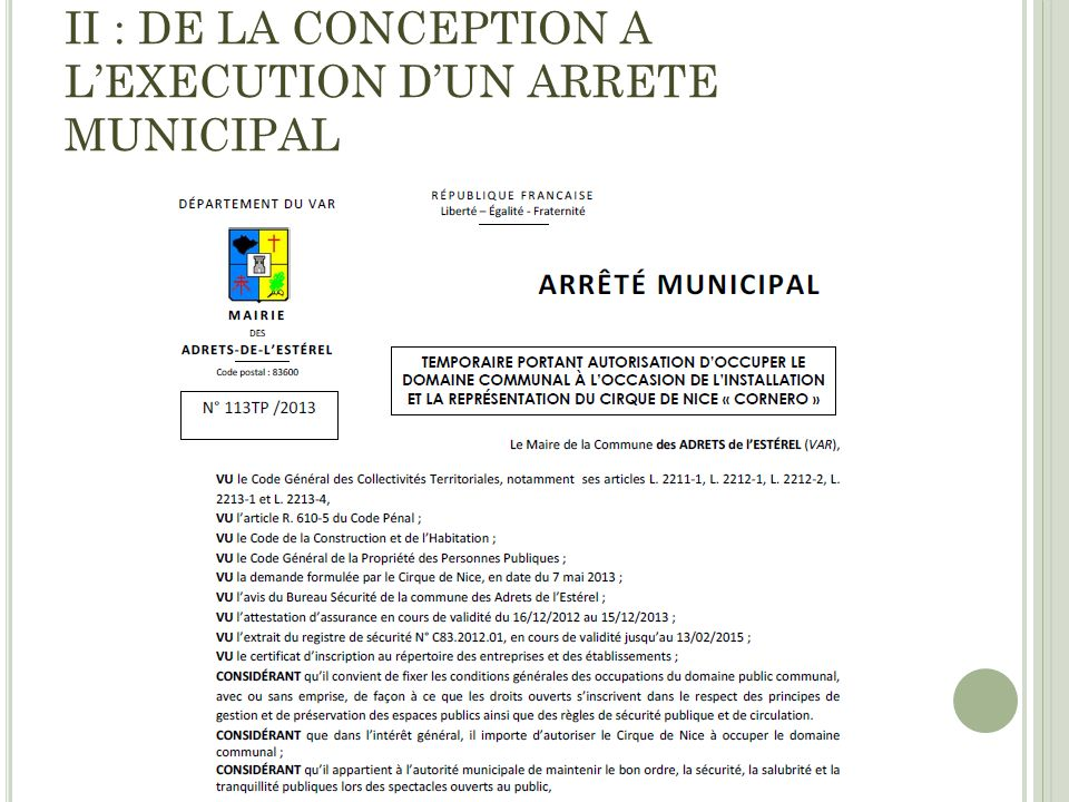 II : DE LA CONCEPTION A L'EXECUTION D'UN ARRETE MUNICIPAL