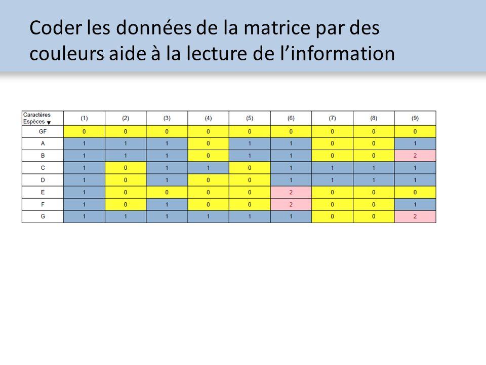 Coder les données de la matrice par des couleurs aide à la lecture de l'information