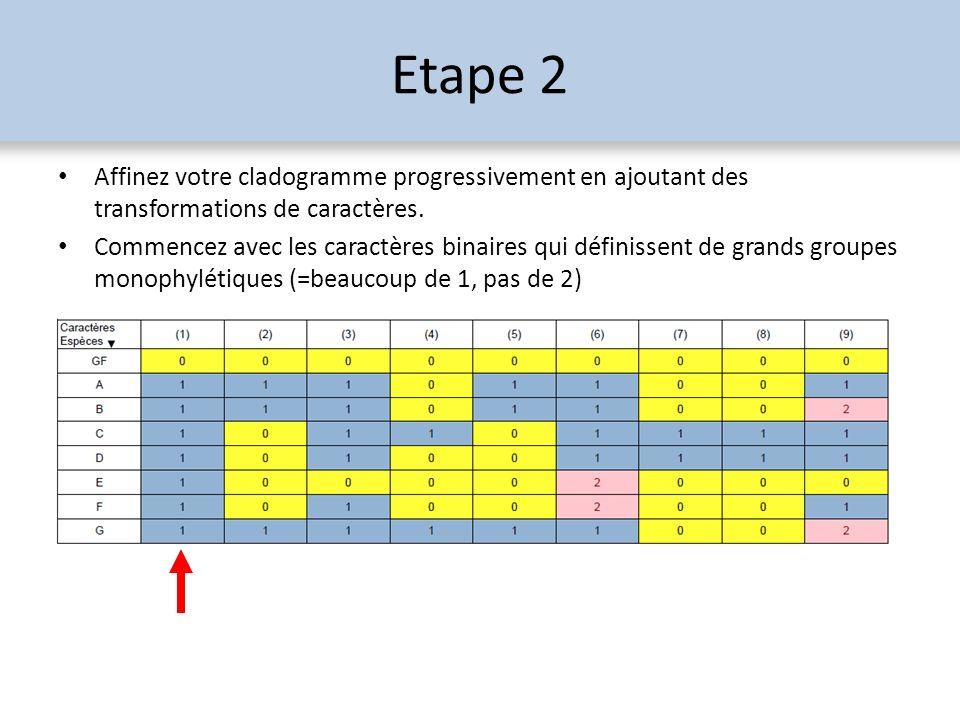 Etape 2 Affinez votre cladogramme progressivement en ajoutant des transformations de caractères.