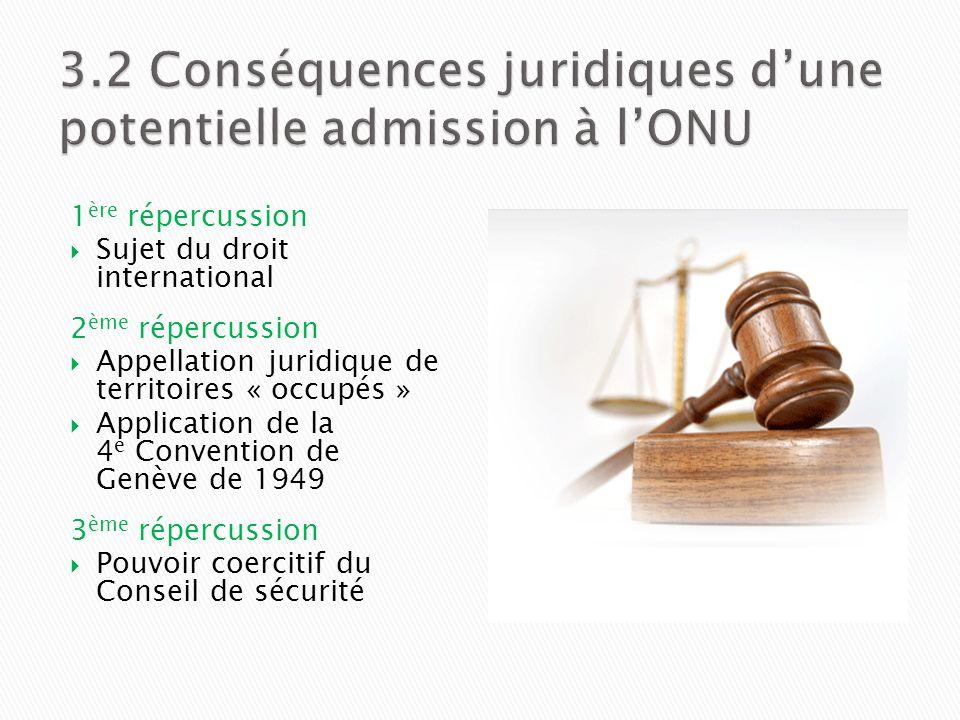 3.2 Conséquences juridiques d'une potentielle admission à l'ONU