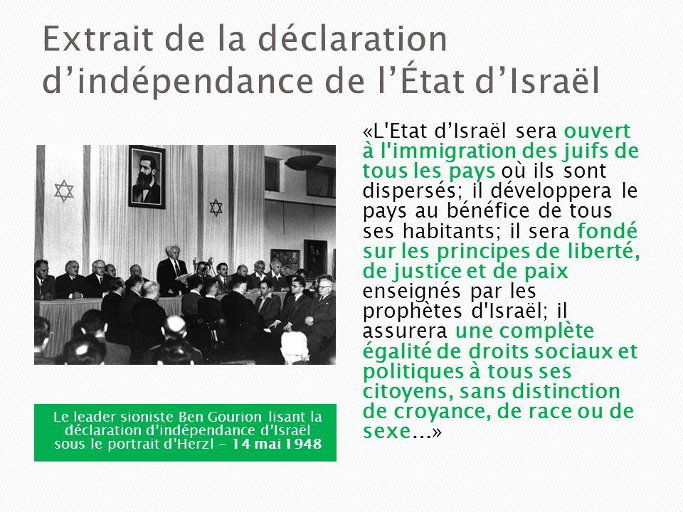 Extrait de la déclaration d'indépendance de l'État d'Israël