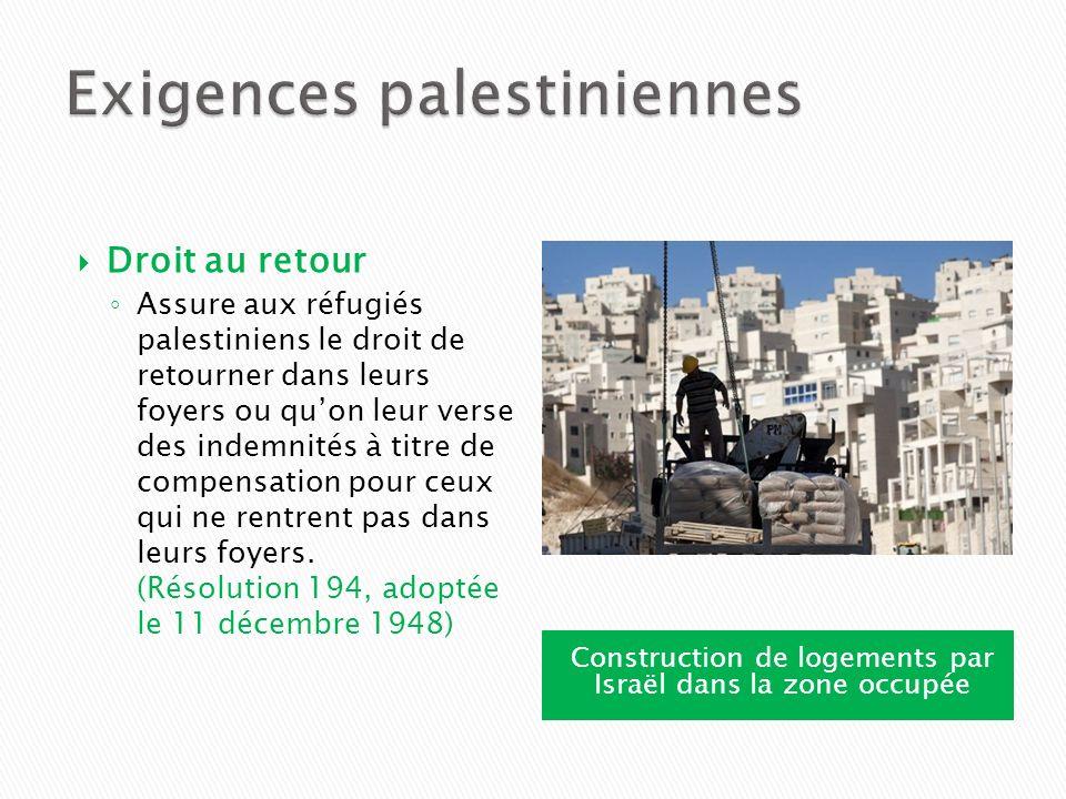 Exigences palestiniennes