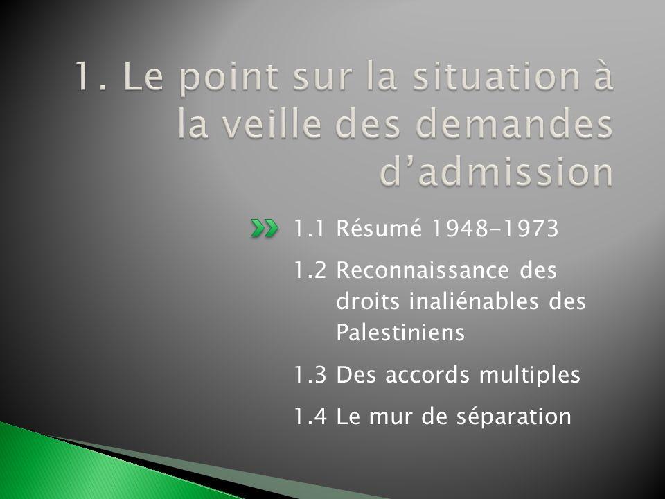 1. Le point sur la situation à la veille des demandes d'admission