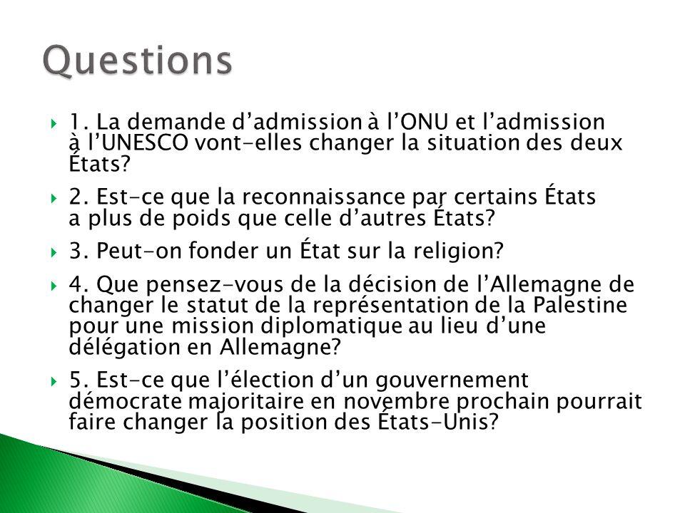 Questions 1. La demande d'admission à l'ONU et l'admission à l'UNESCO vont-elles changer la situation des deux États