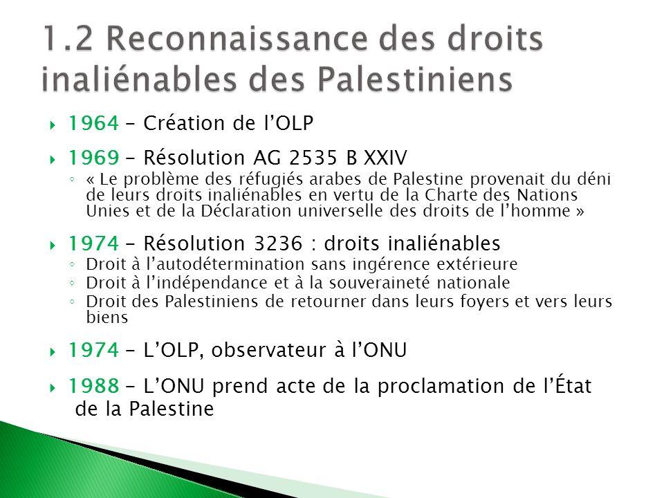 1.2 Reconnaissance des droits inaliénables des Palestiniens