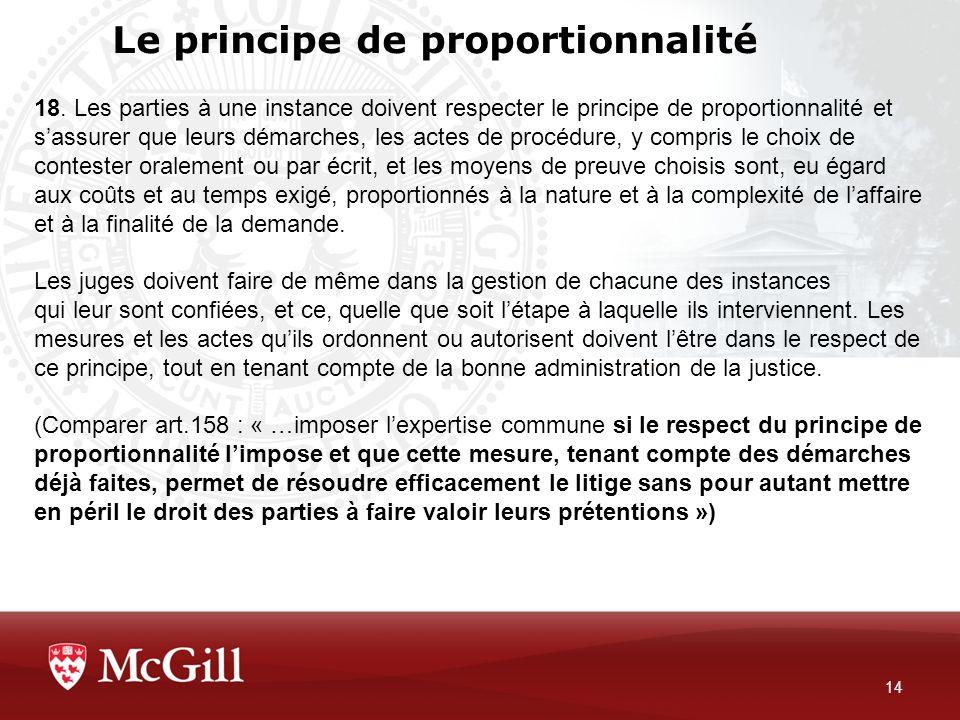 Le principe de proportionnalité
