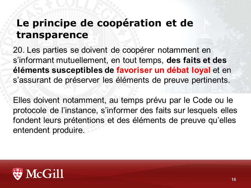 Le principe de coopération et de transparence