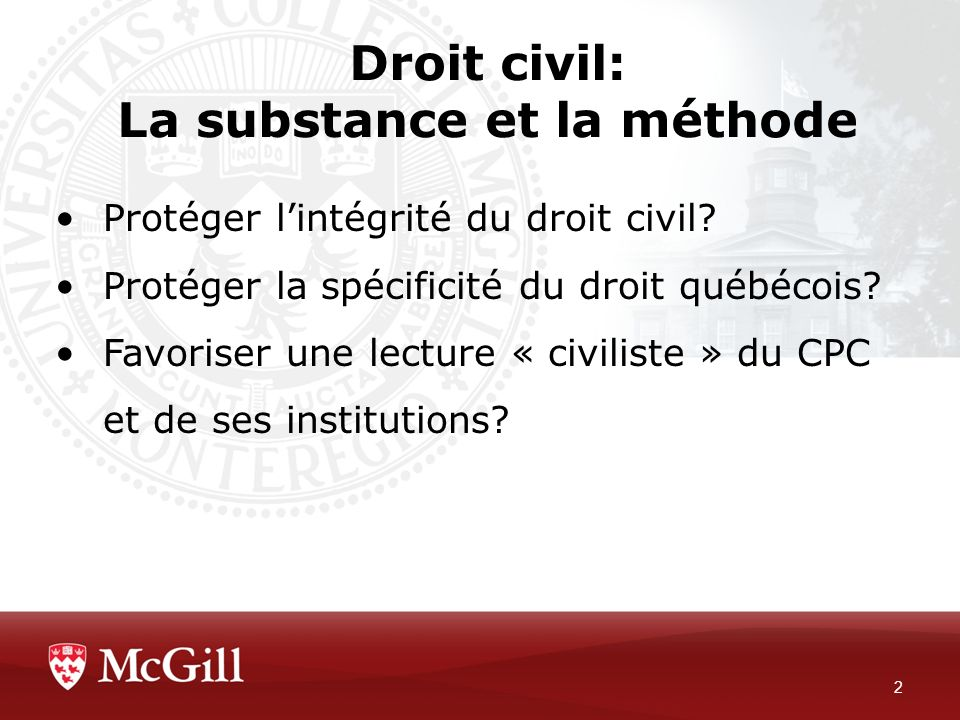 Droit civil: La substance et la méthode