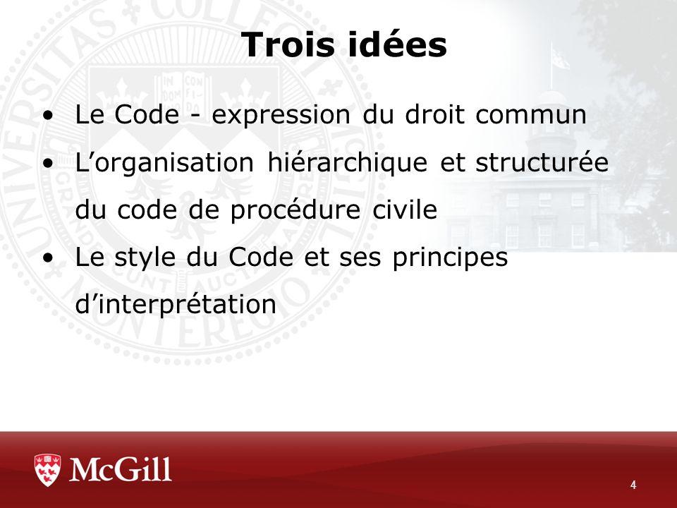 Trois idées Le Code - expression du droit commun