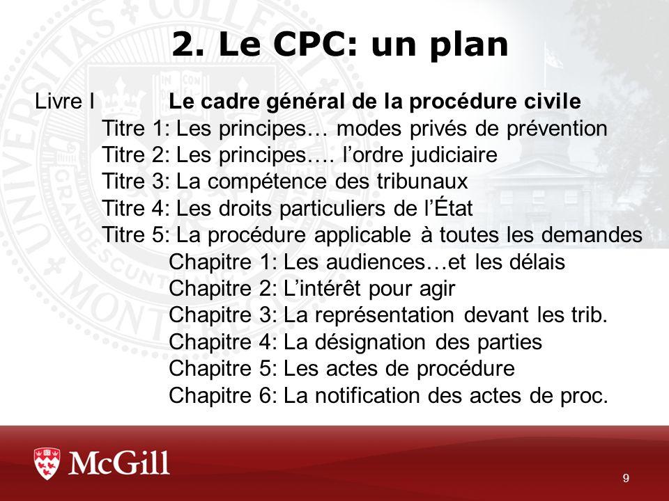 2. Le CPC: un plan Livre I Le cadre général de la procédure civile