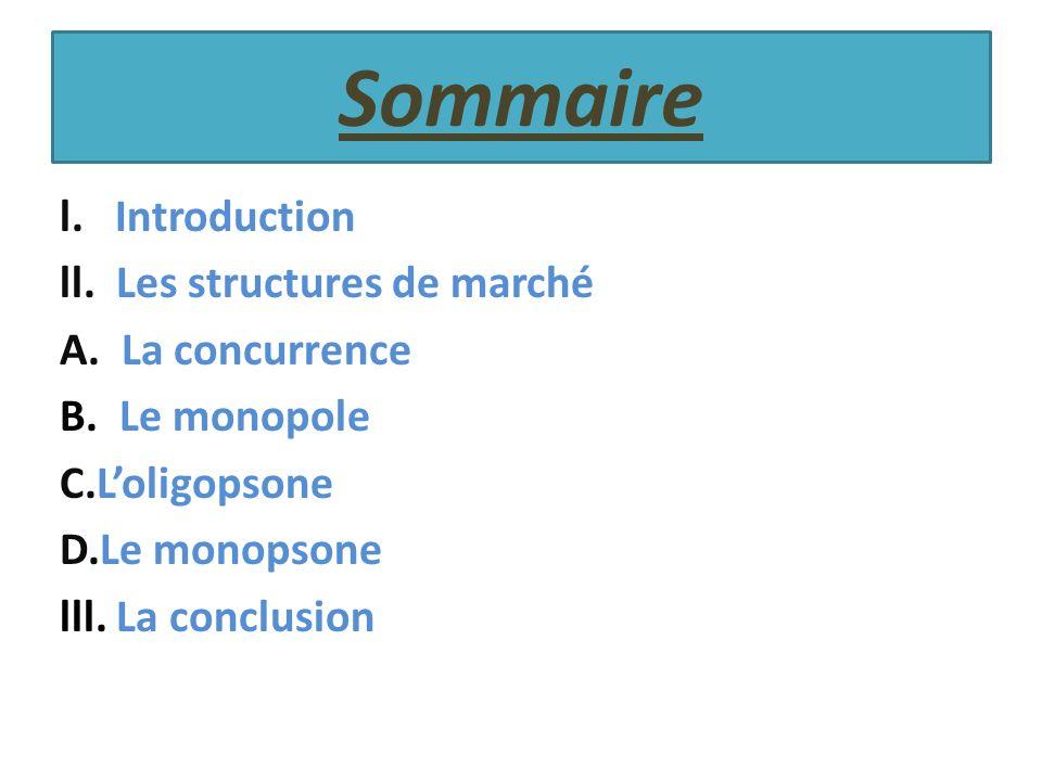 Sommaire l. Introduction ll. Les structures de marché