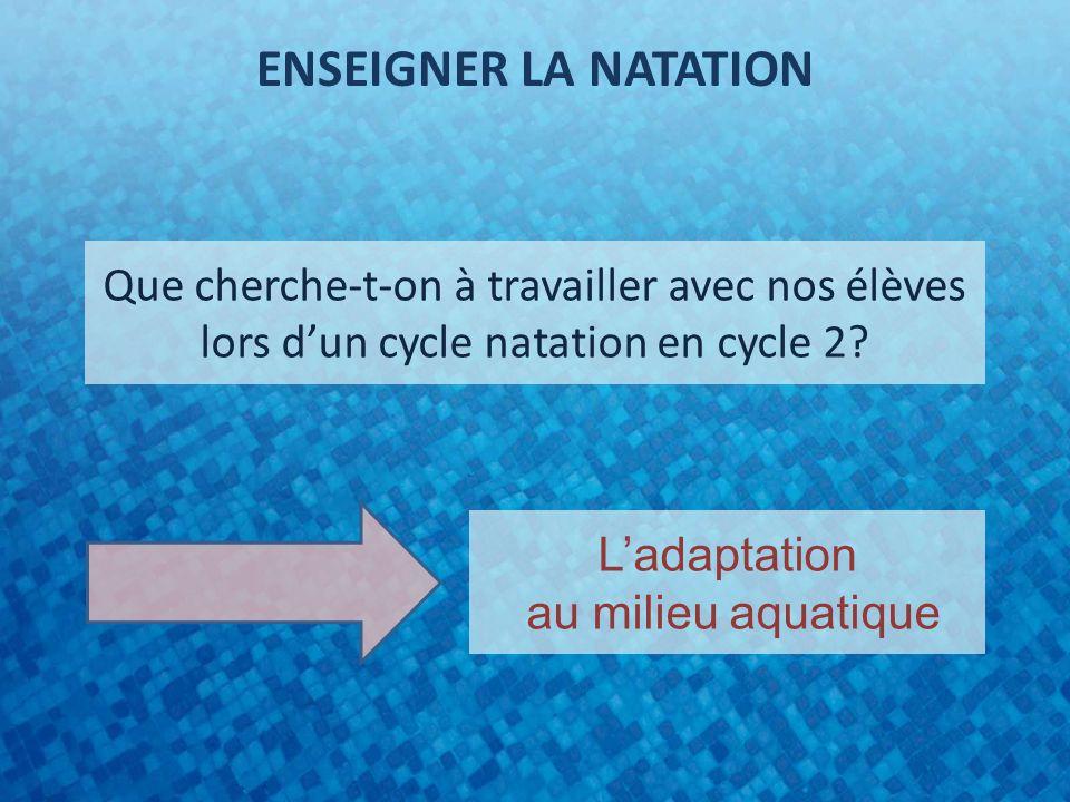 ENSEIGNER LA NATATION Que cherche-t-on à travailler avec nos élèves lors d'un cycle natation en cycle 2