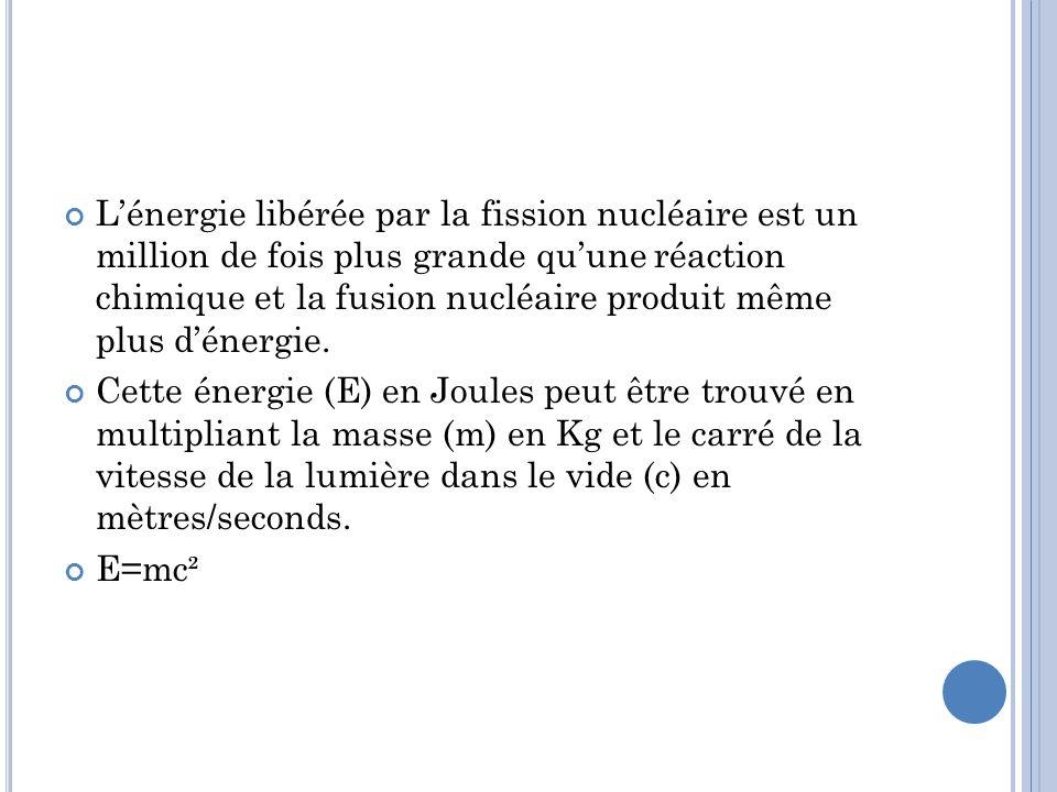 L'énergie libérée par la fission nucléaire est un million de fois plus grande qu'une réaction chimique et la fusion nucléaire produit même plus d'énergie.
