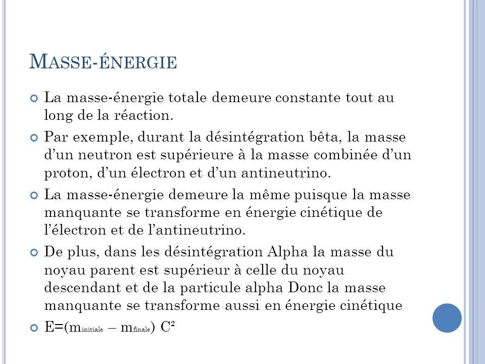 Masse-énergie La masse-énergie totale demeure constante tout au long de la réaction.