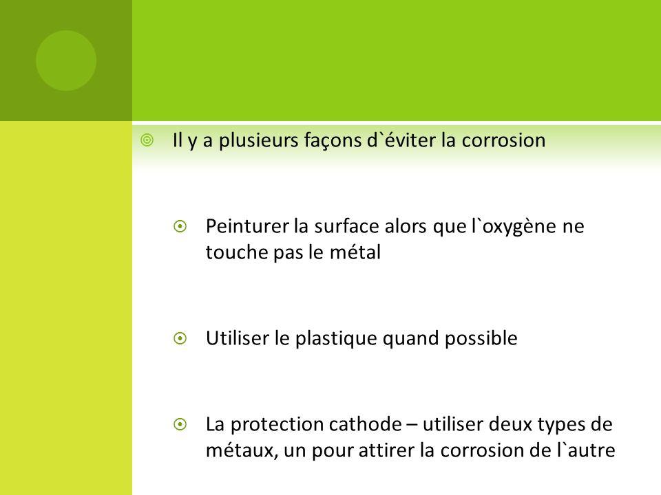 Il y a plusieurs façons d`éviter la corrosion