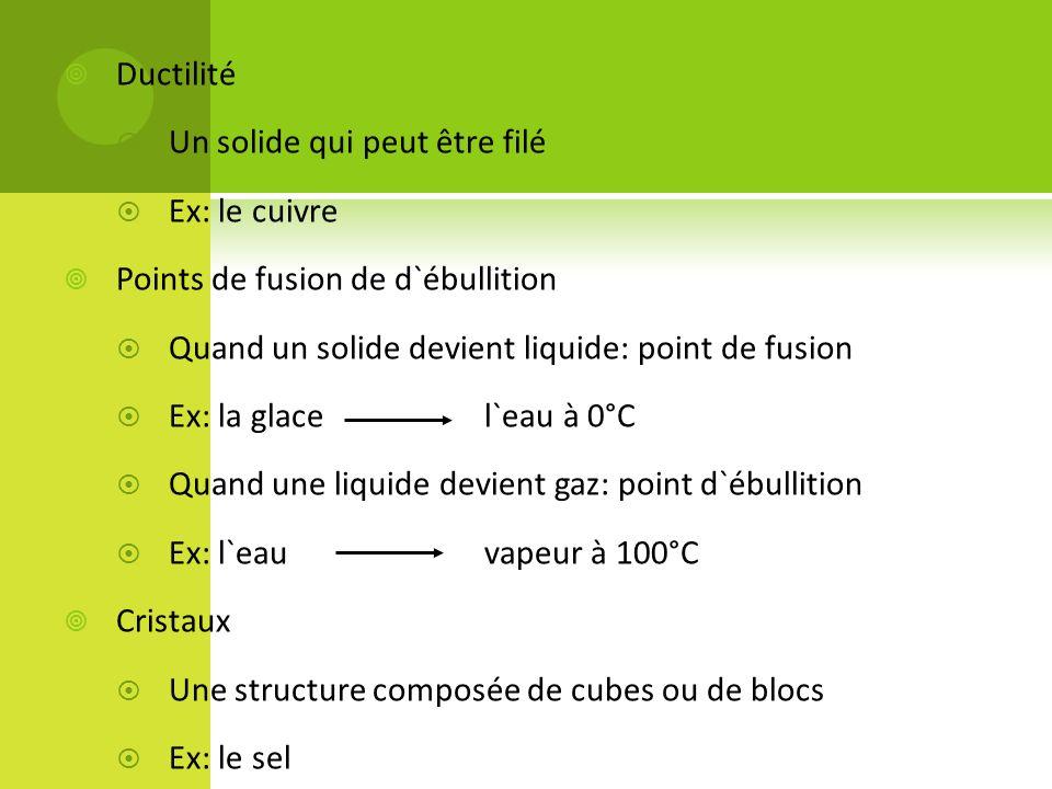Ductilité Un solide qui peut être filé. Ex: le cuivre. Points de fusion de d`ébullition. Quand un solide devient liquide: point de fusion.