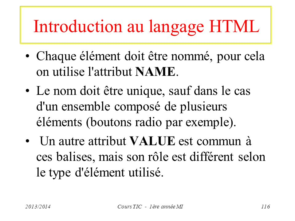 Introduction au langage HTML