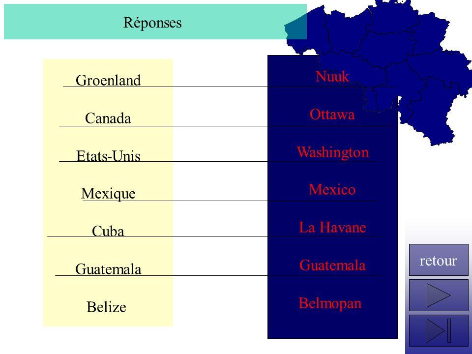 Réponses Nuuk. Ottawa. Washington. Mexico. La Havane. Guatemala. Belmopan. Groenland. Canada.