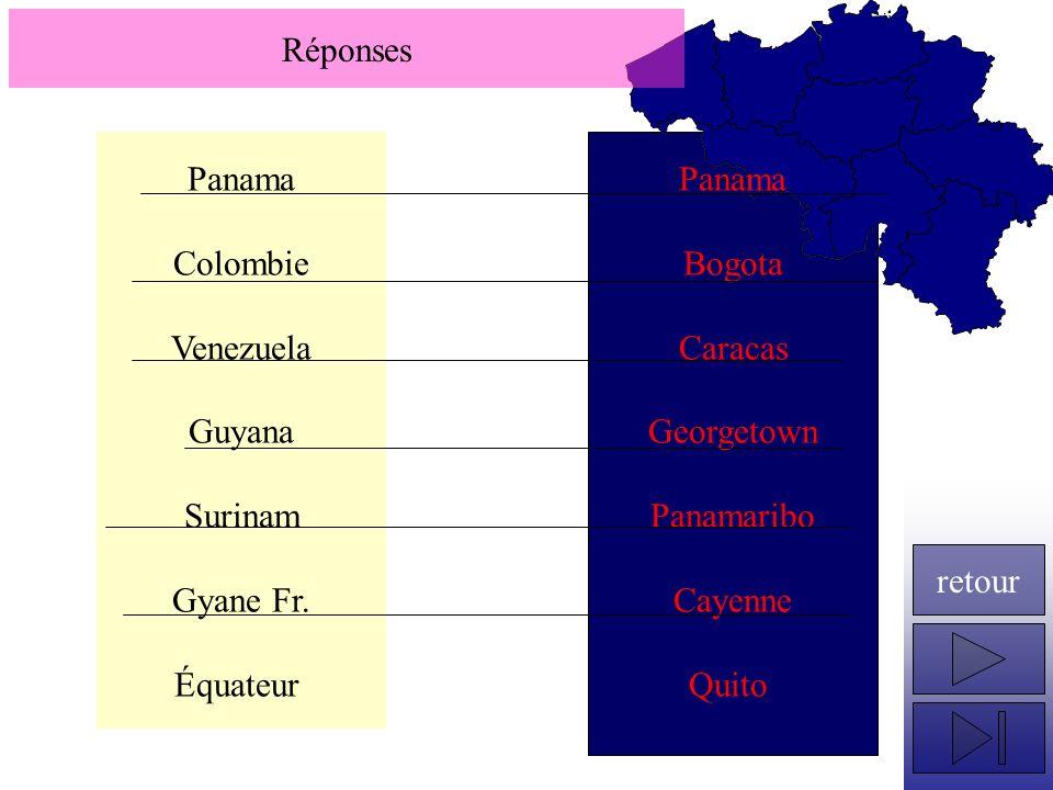 Réponses Panama. Colombie. Venezuela. Guyana. Surinam. Gyane Fr. Équateur. Panama. Bogota. Caracas.