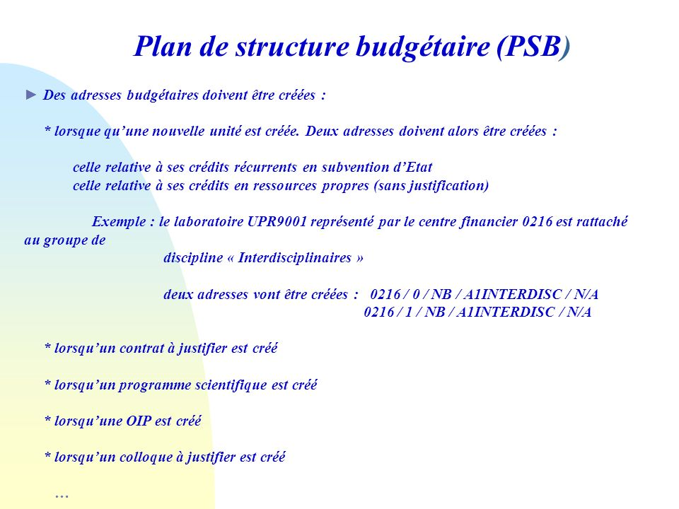 Plan de structure budgétaire (PSB)