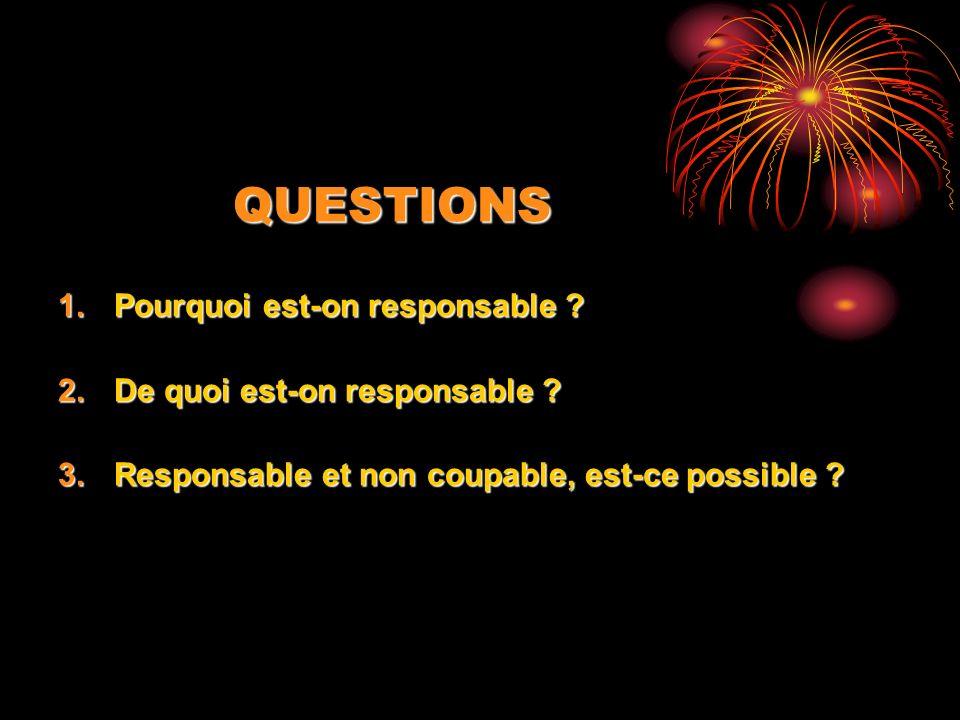 QUESTIONS Pourquoi est-on responsable De quoi est-on responsable