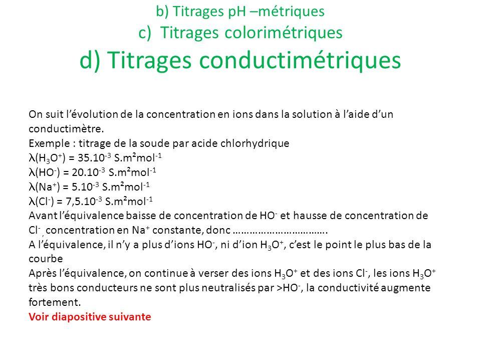 a) Définition b) Titrages pH –métriques c) Titrages colorimétriques d) Titrages conductimétriques