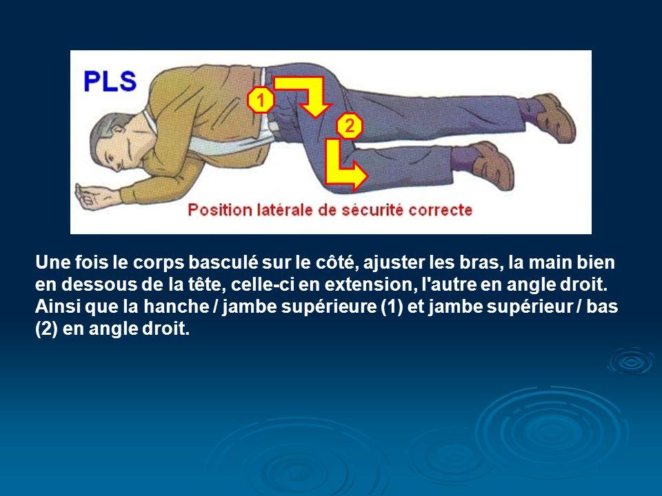 1 2. Une fois le corps basculé sur le côté, ajuster les bras, la main bien. en dessous de la tête, celle-ci en extension, l autre en angle droit.