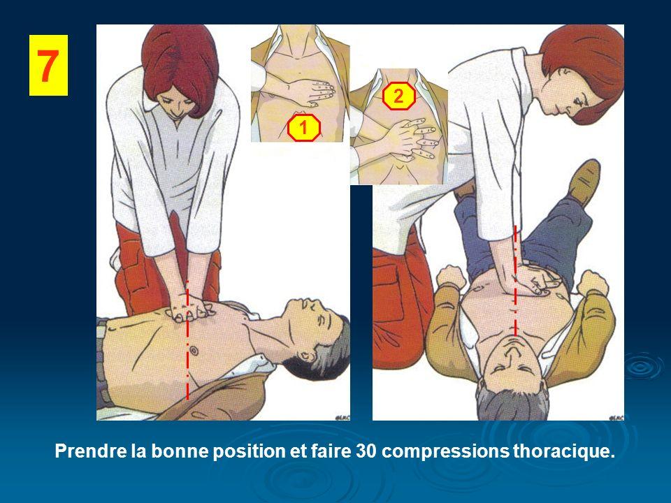 Prendre la bonne position et faire 30 compressions thoracique.