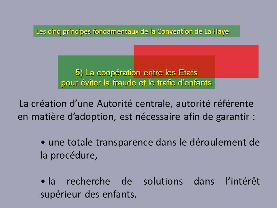 une totale transparence dans le déroulement de la procédure,