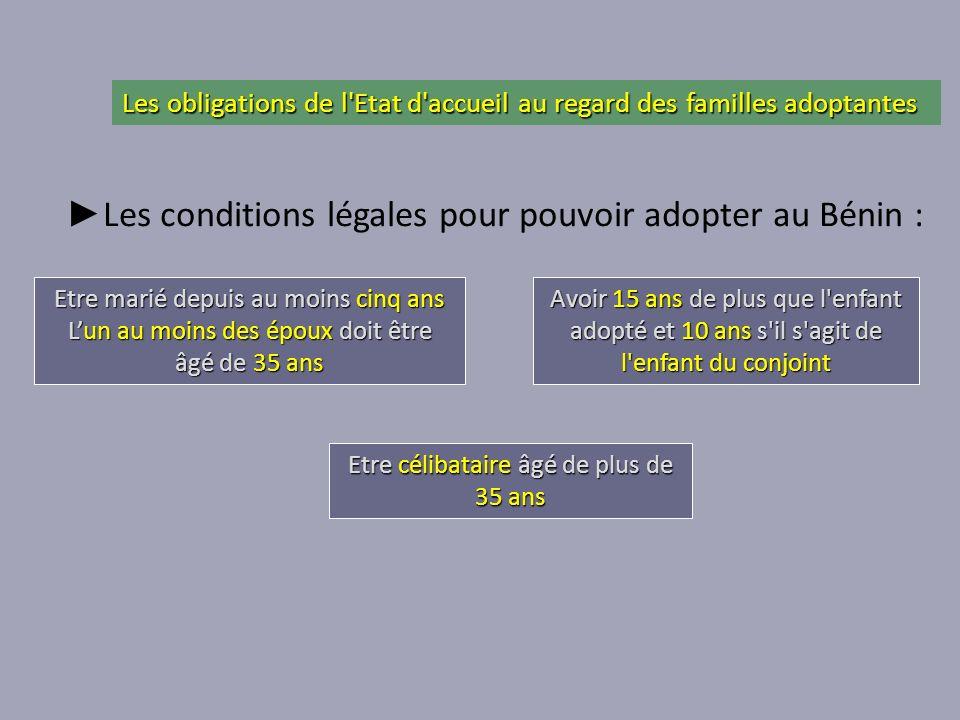 ►Les conditions légales pour pouvoir adopter au Bénin :