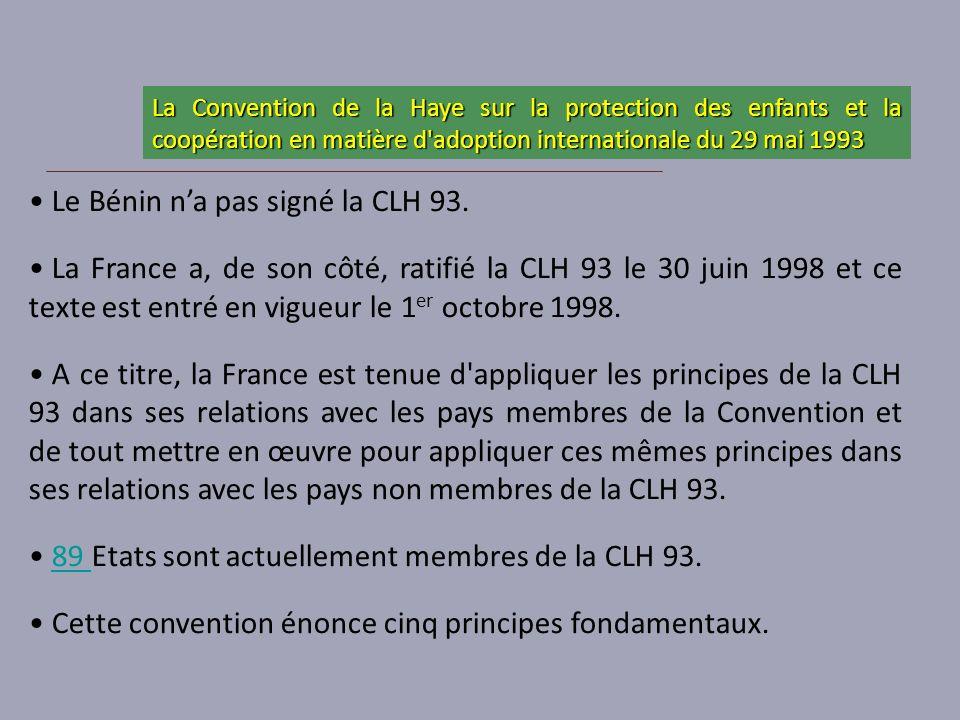 Le Bénin n'a pas signé la CLH 93.