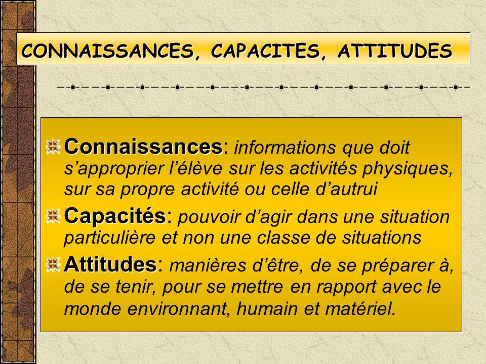 CONNAISSANCES, CAPACITES, ATTITUDES