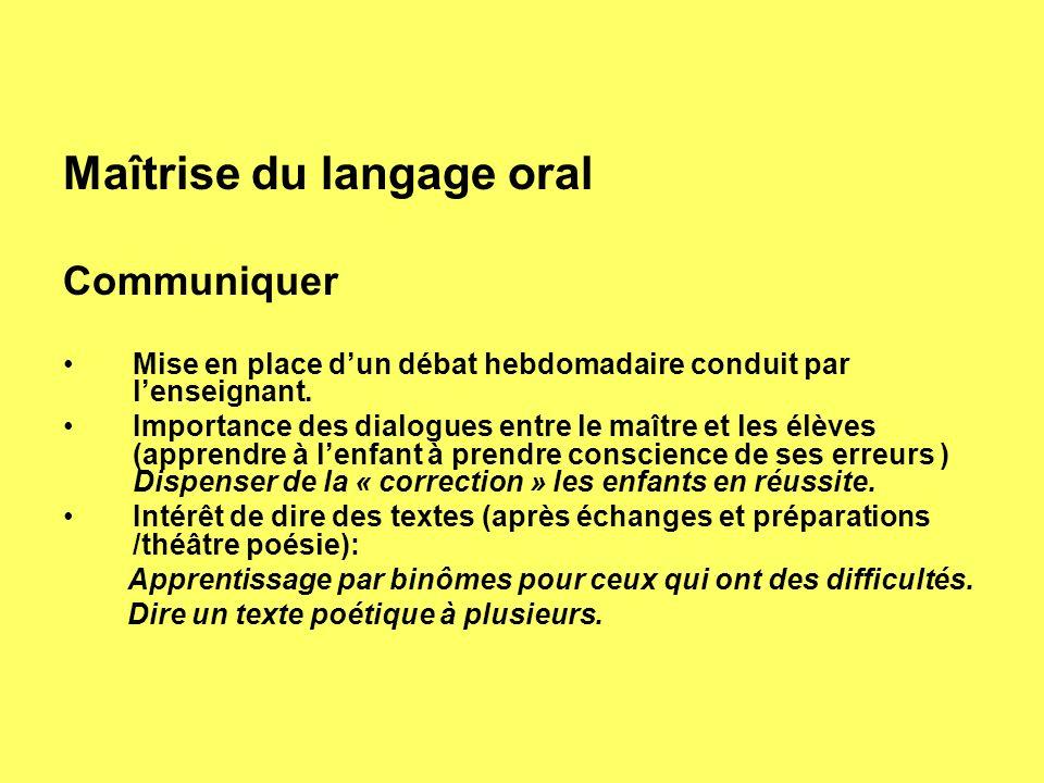 Maîtrise du langage oral