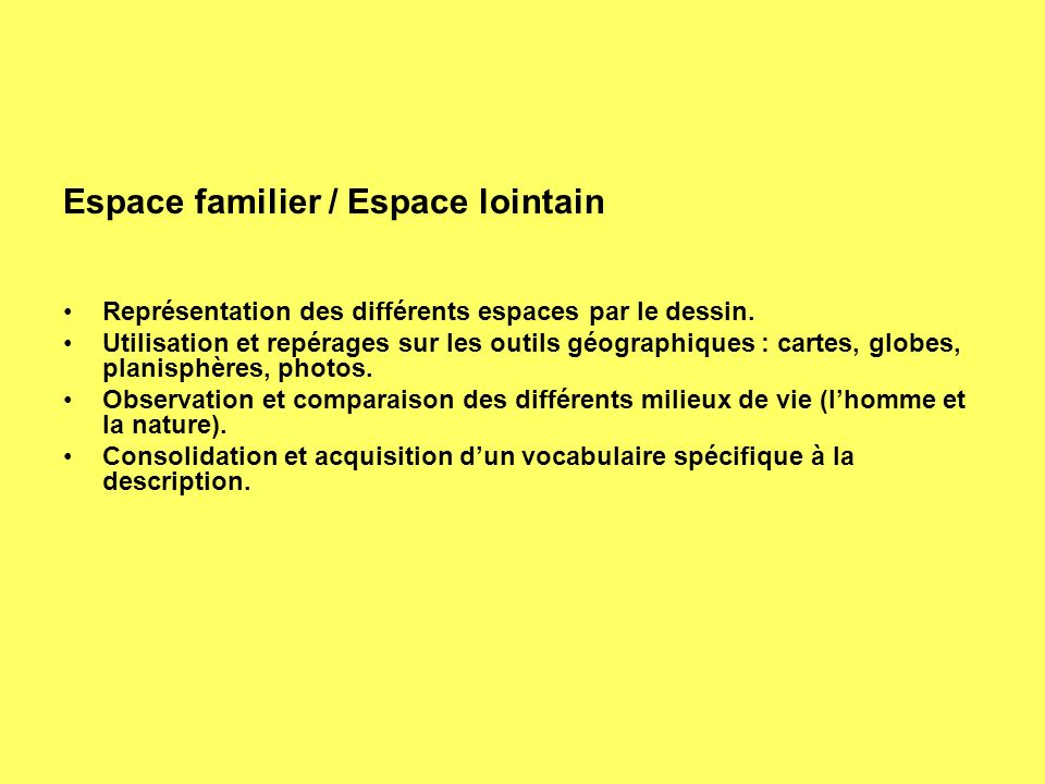 Espace familier / Espace lointain