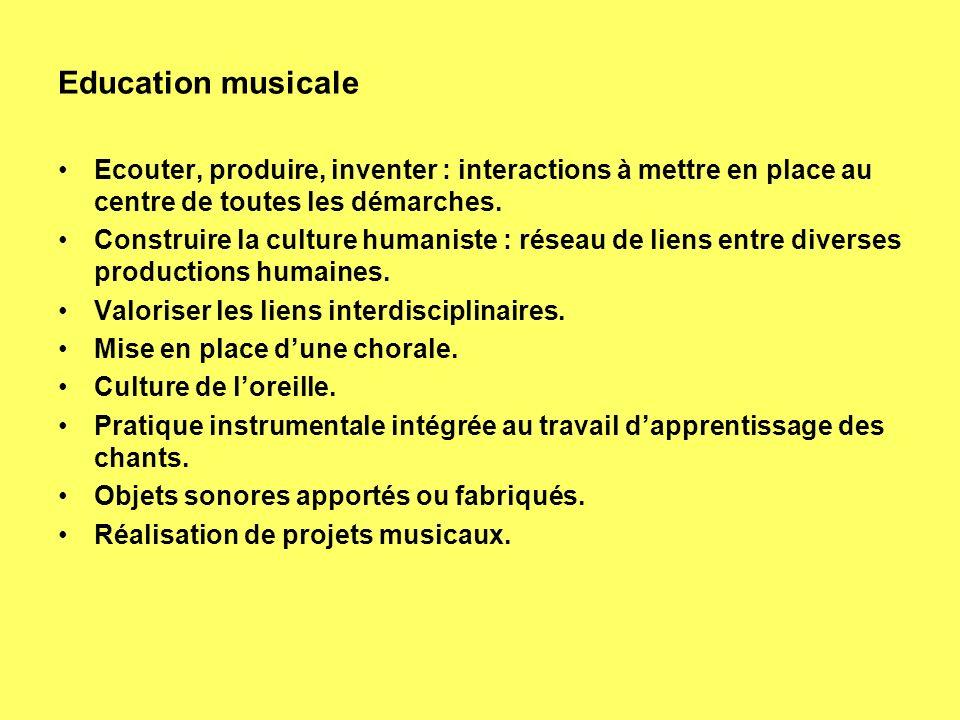 Education musicale Ecouter, produire, inventer : interactions à mettre en place au centre de toutes les démarches.