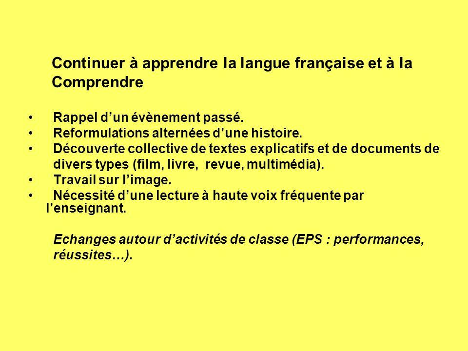Continuer à apprendre la langue française et à la Comprendre