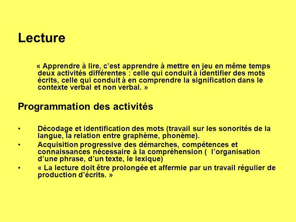 Lecture Programmation des activités