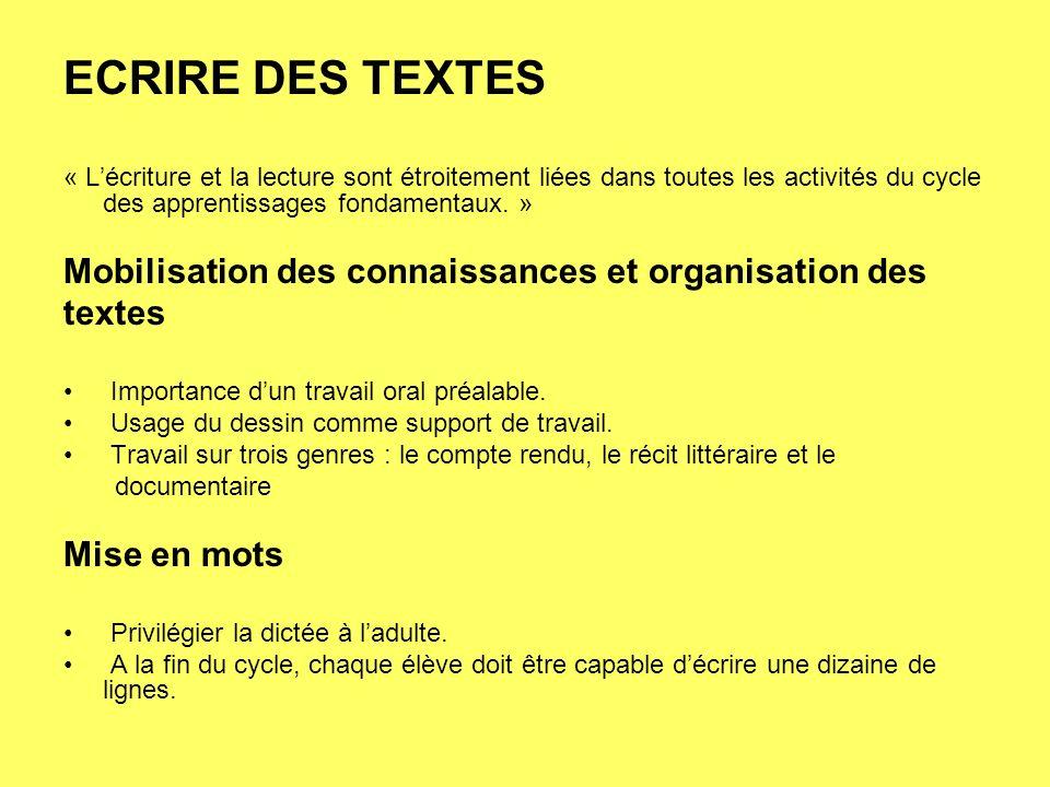 ECRIRE DES TEXTES Mobilisation des connaissances et organisation des