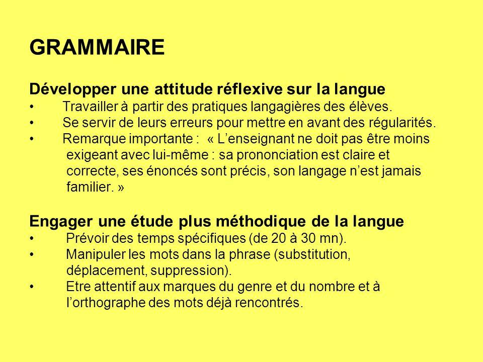GRAMMAIRE Développer une attitude réflexive sur la langue