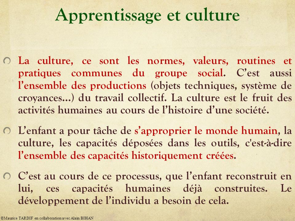 Apprentissage et culture