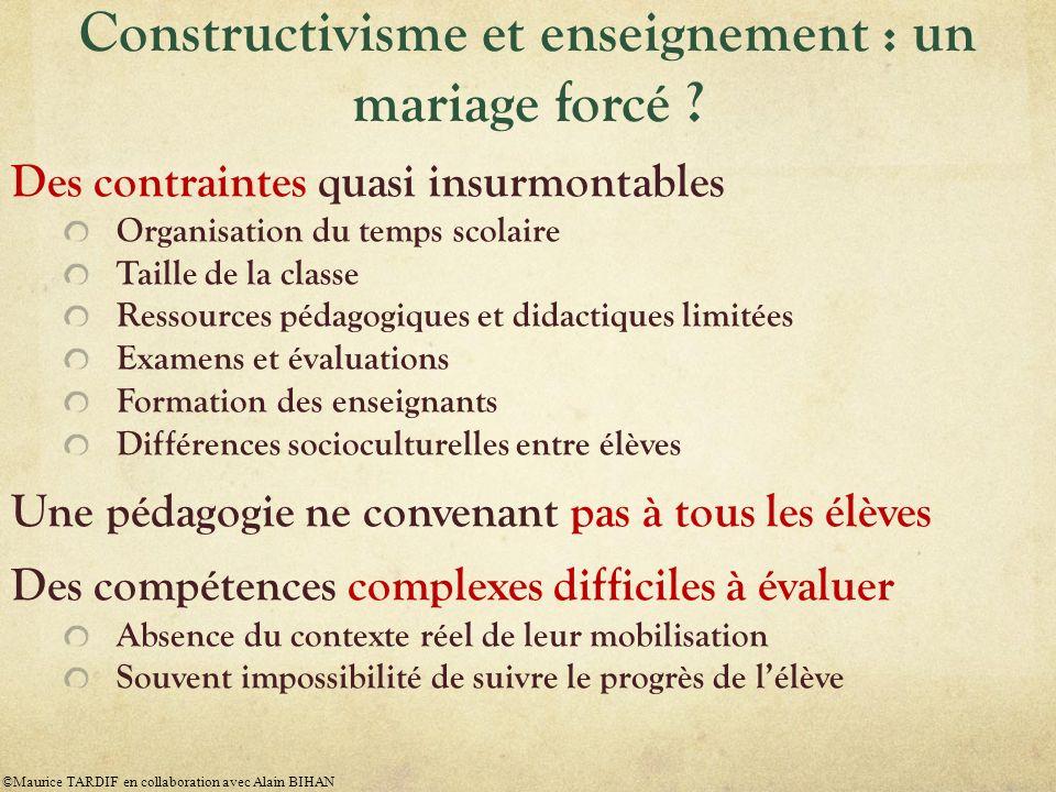 Constructivisme et enseignement : un mariage forcé